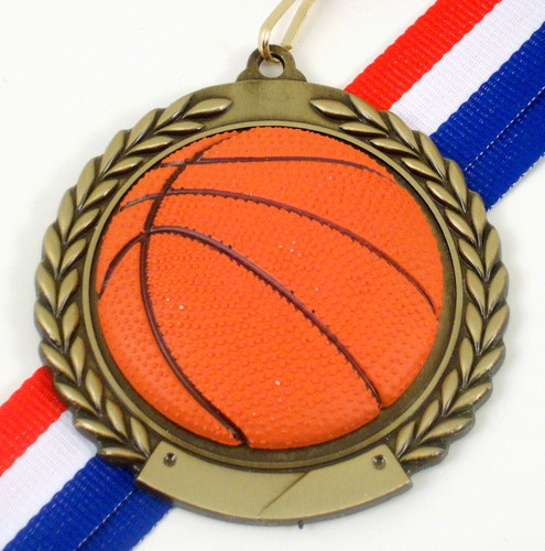 Basketball Medal with Relief Ball Logo