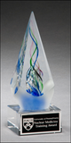 Arrow shaped art glass award with frosted glass accent-Acrylic-Schoppy's Since 1921