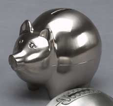 Piggy Bank Pewter Finish Large-Gift-Schoppy's Since 1921