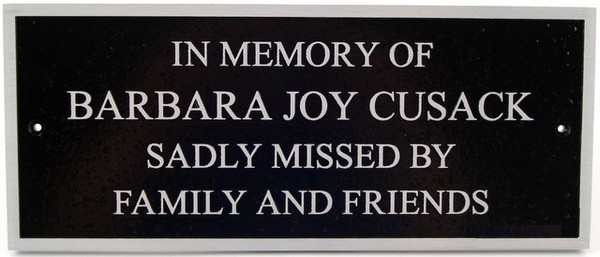 Aluminum Bench Plaque - 12 x 5