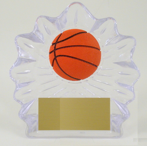 Basketball Shell Trophy with Relief Ball Logo Large-Trophies-Schoppy's Since 1921