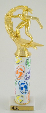 ESA Rainbow Amoeba Trophy with Original Metal Roll Column-Trophies-Schoppy's Since 1921