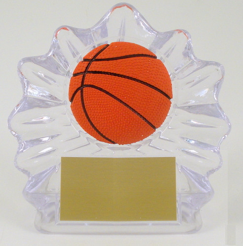Basketball Shell Trophy with Relief Ball Logo Small-Trophies-Schoppy's Since 1921