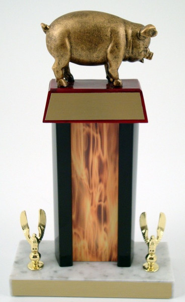 Pig Trophy with Black Column & Flaming Center - Schoppy Original