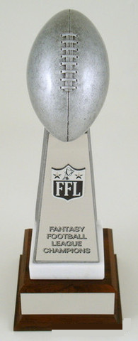 Fantasy Football Championship Trophy on Marble and Wood Base-Trophies-Schoppy's Since 1921