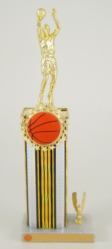 Basketball Wide Column Trophy with Relief Ball Logo-Trophies-Schoppy's Since 1921