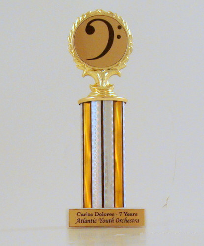 Bass Clef Column Trophy on Marble Base