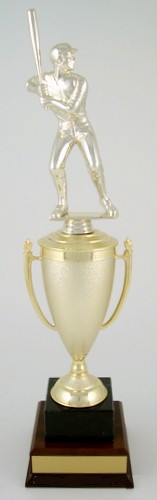 Batter Up Cup Trophy on Black Marble and Wood Base