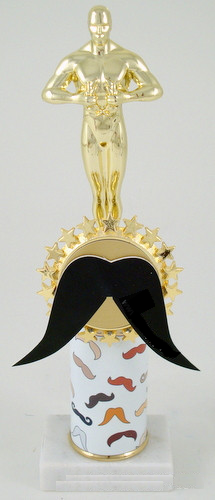 Mustache Achievement Trophy on Original Metal Roll Column