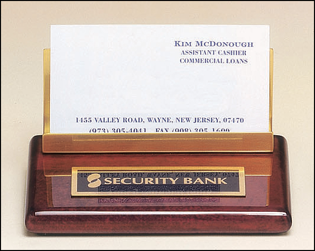 Business Card Holder in Rosewood Piano-Finish-Name Desk Block-Schoppy's Since 1921