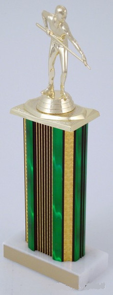 "Billiards Trophy on 6"" Wide Column-Trophies-Schoppy's Since 1921"