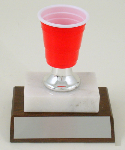 Mini Beer Pong Silver Bell Trophy on Marble & Wood Base-Trophies-Schoppy's Since 1921