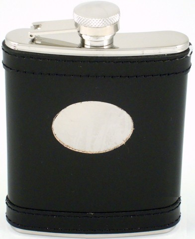 Black 6 oz Flask w/Eng Plate