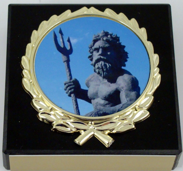 Black Marble King Neptune Paperweight