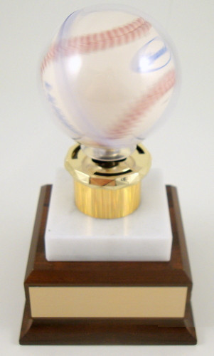 Acrylic Baseball Spinner on Marble and Wood Base