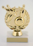 Bowling Wreath Trophy on Marble Base-Trophies-Schoppy's Since 1921