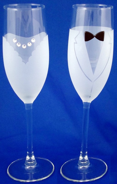 Bride & Groom Champagne Flutes-Glasses-Schoppy's Since 1921