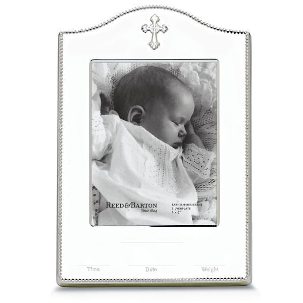"Abbey Silverplate Birth Record Frame 4"" x 6"""