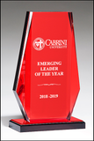 Clear Acrylic Award with Red Mirror Background on Red Mirror Topped Base-Acrylic-Schoppy's Since 1921