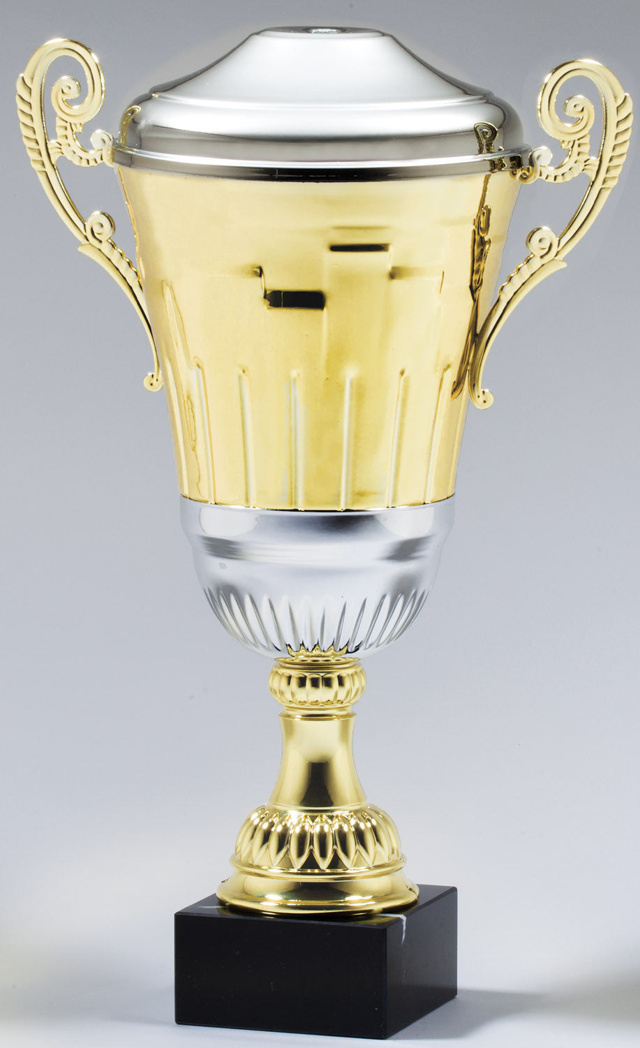 Classic Metal Gold Cup With Rectangle Pattern-Trophy-Schoppy's Since 1921