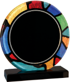 Stained Glass Round Acrylic with Black Base