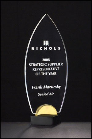 Acrylic Award - Flame Series on Black & Gold Metal Base-Plaque-Schoppy's Since 1921