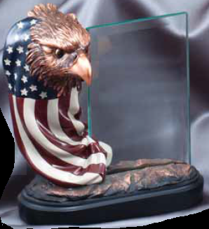 American Eagle Glass Pane Resin Trophy
