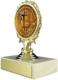 Bitcoin Logo Trophy On Flat White Marble-Trophy-Schoppy's Since 1921