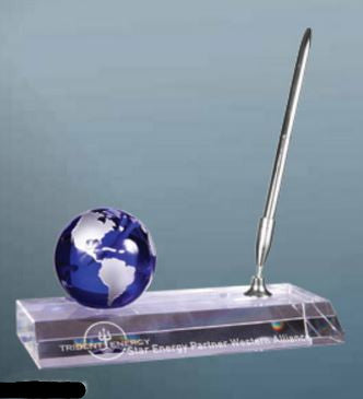 "3"" Blue Crystal Globe with Base and Pen-Penset-Schoppy's Since 1921"