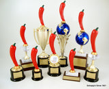 Pepper Food Contest Starred Logo Trophy on Black Round Base-Trophies-Schoppy's Since 1921