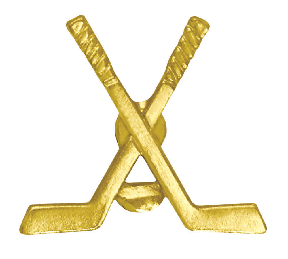 Crossed Hockey Sticks Chenille Pin