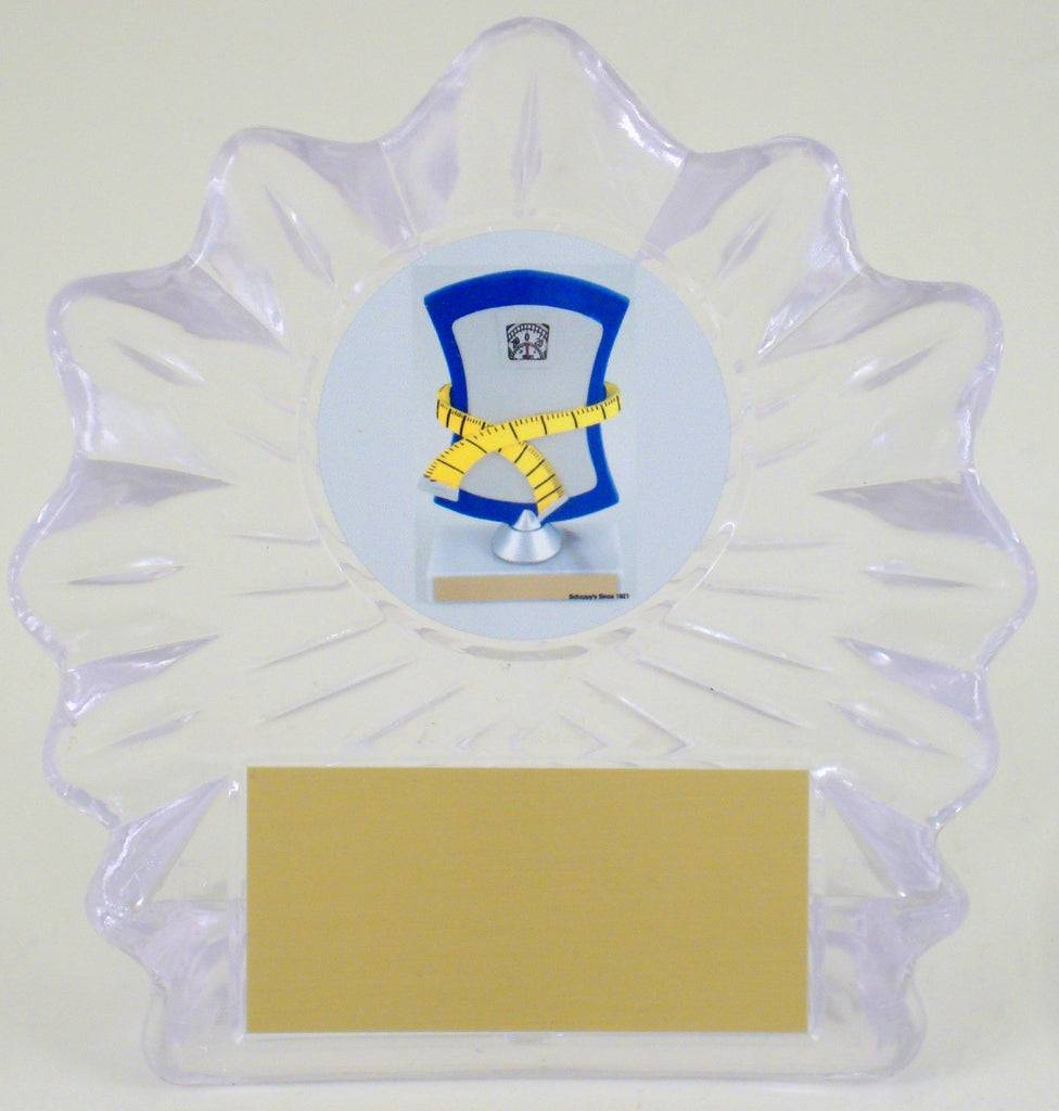 Weight Loss Acrylic Shell Trophy with Logo