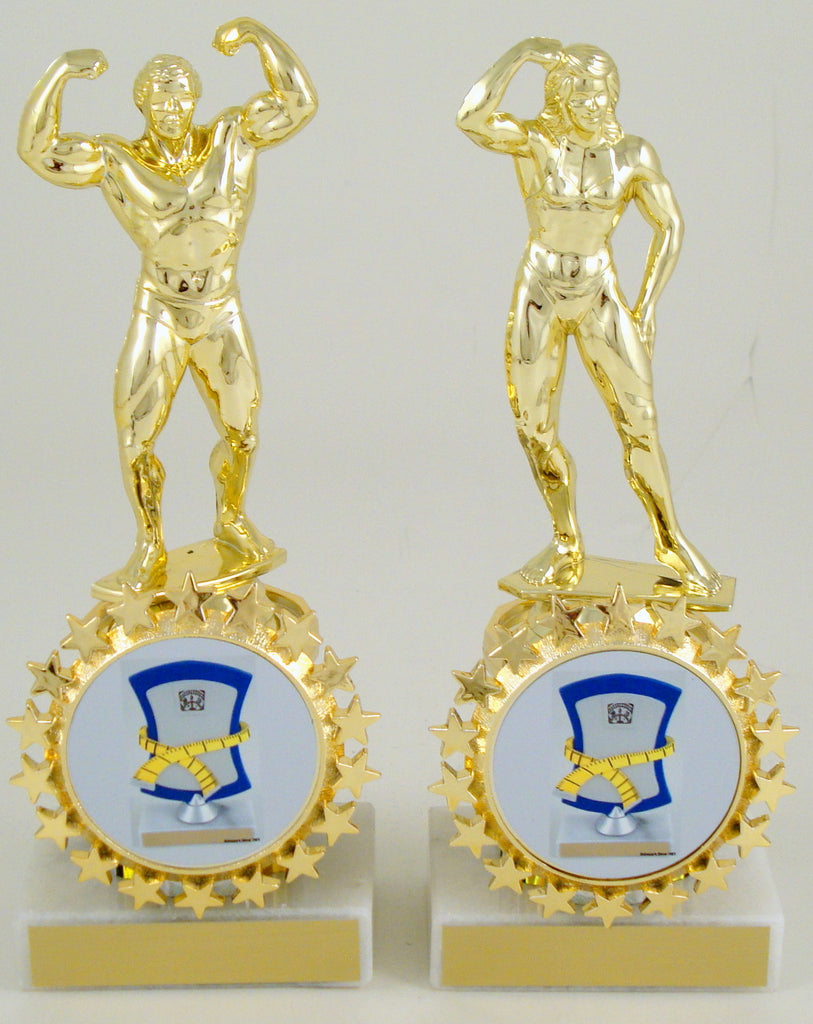 Weight Loss Adonis Trophy With Column and Medal