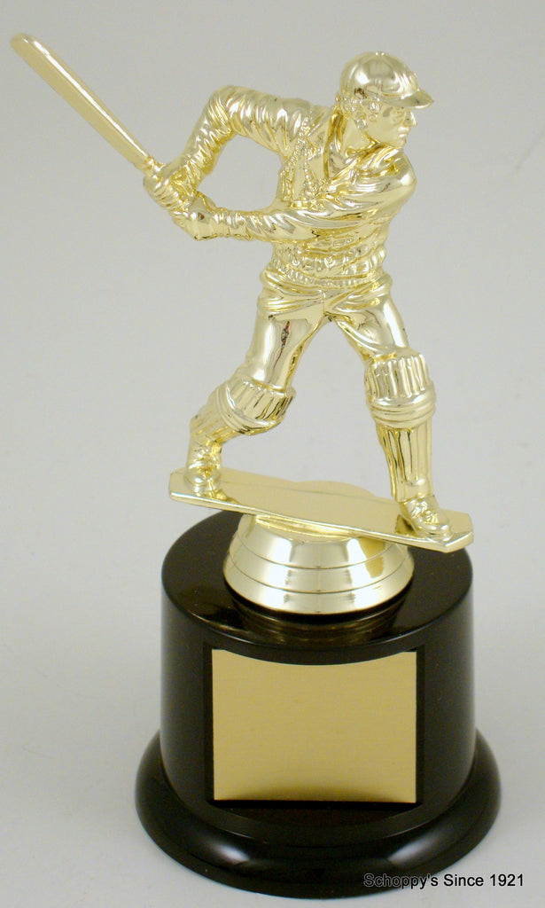 Cricket Player Trophy On Small Black Round Base
