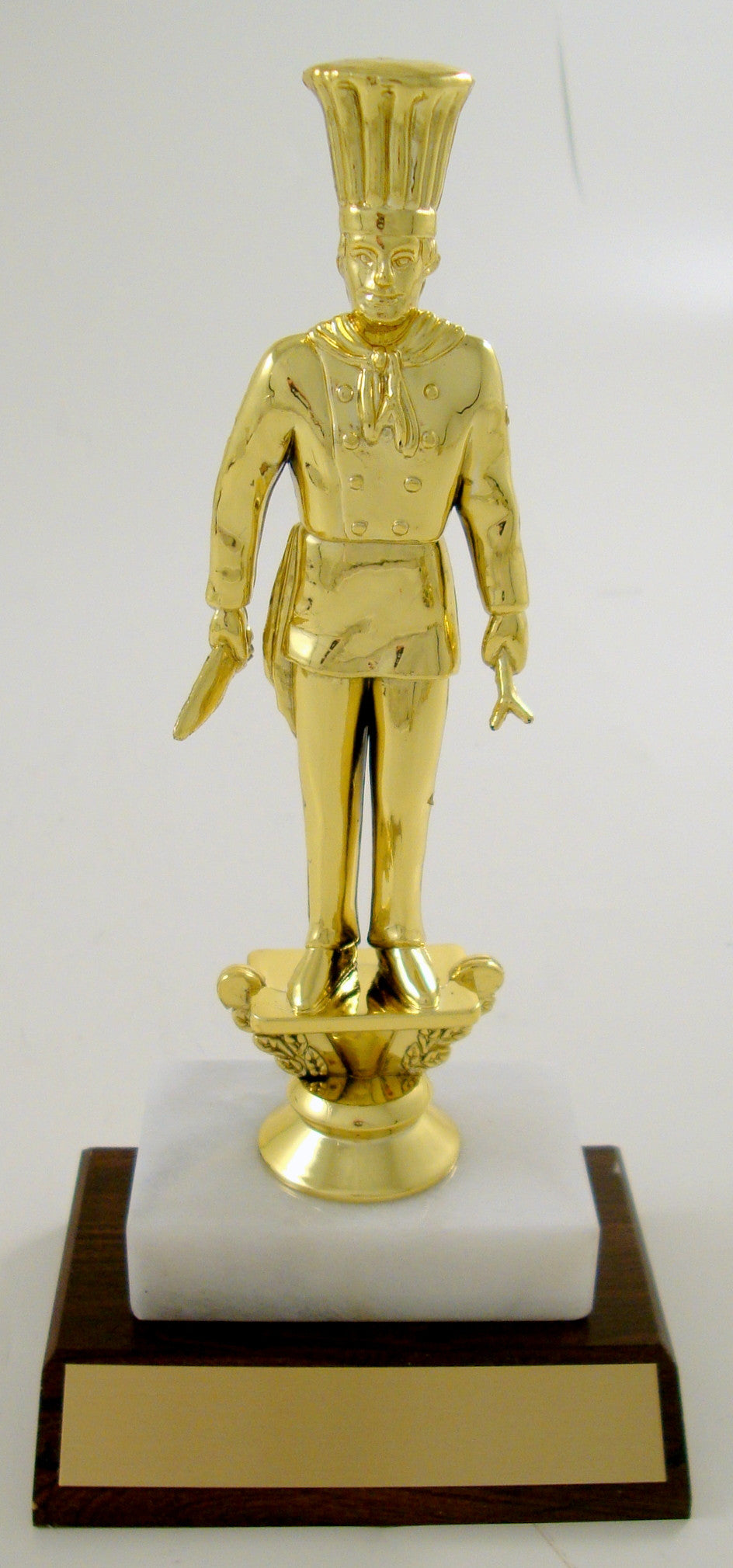 Chef Trophy Figure On Marble Base with Wood Slant-Trophies-Schoppy's Since 1921