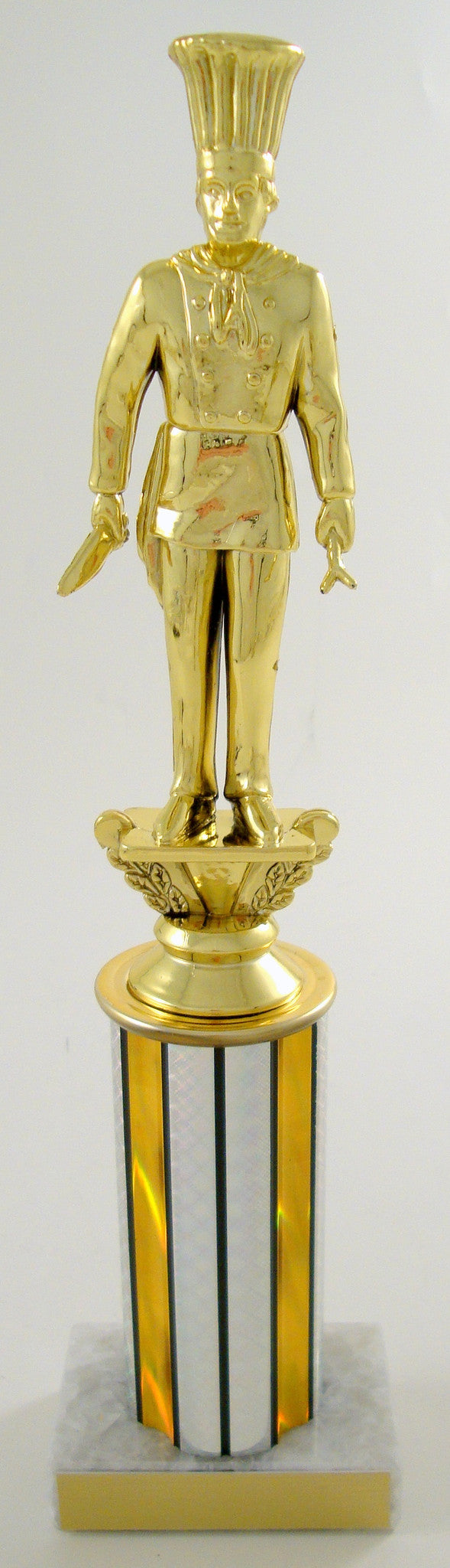 Chef Trophy Figure on On Round Column With White Marble base-Trophies-Schoppy's Since 1921