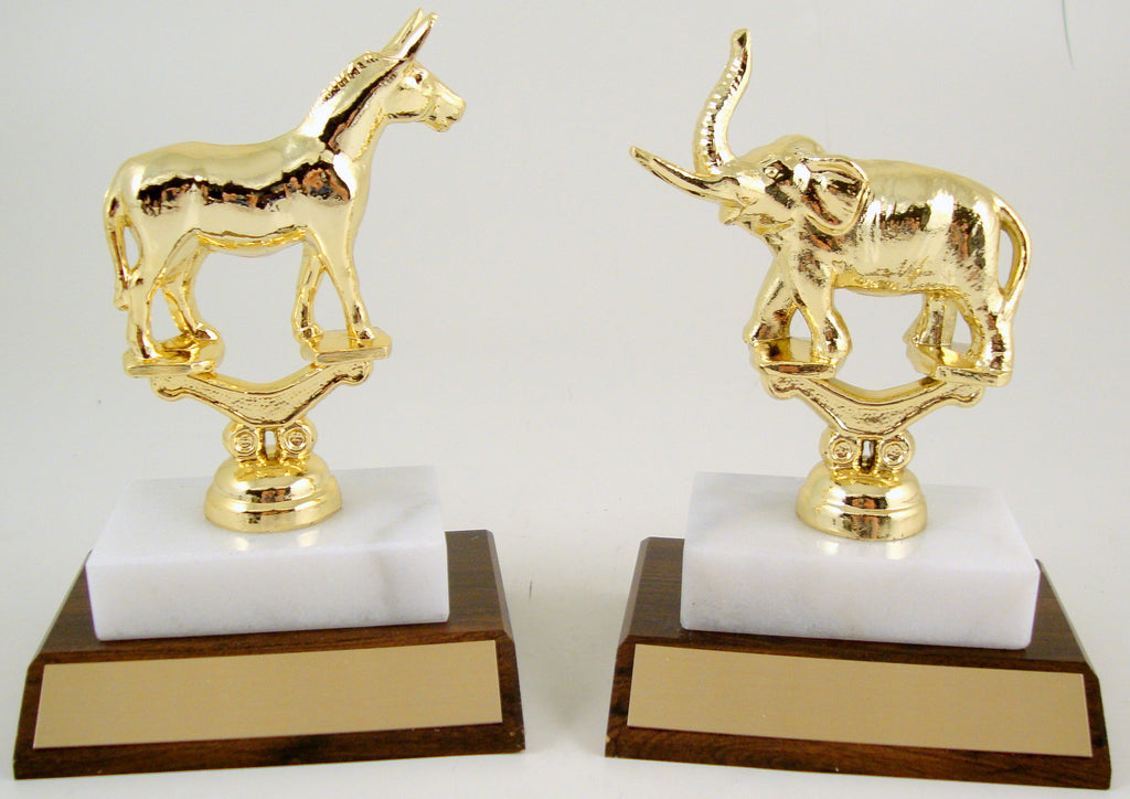 Metal Political Animal Trophy On Wood And Marble Base