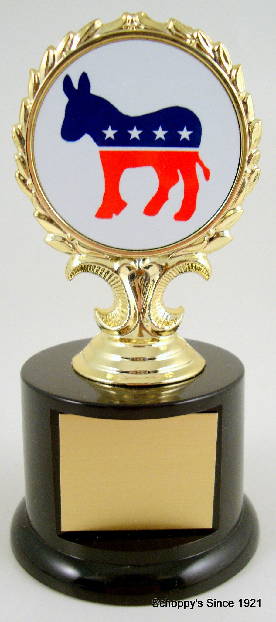 Political Animal Logo Trophy On Black Round Base-Trophies-Schoppy's Since 1921