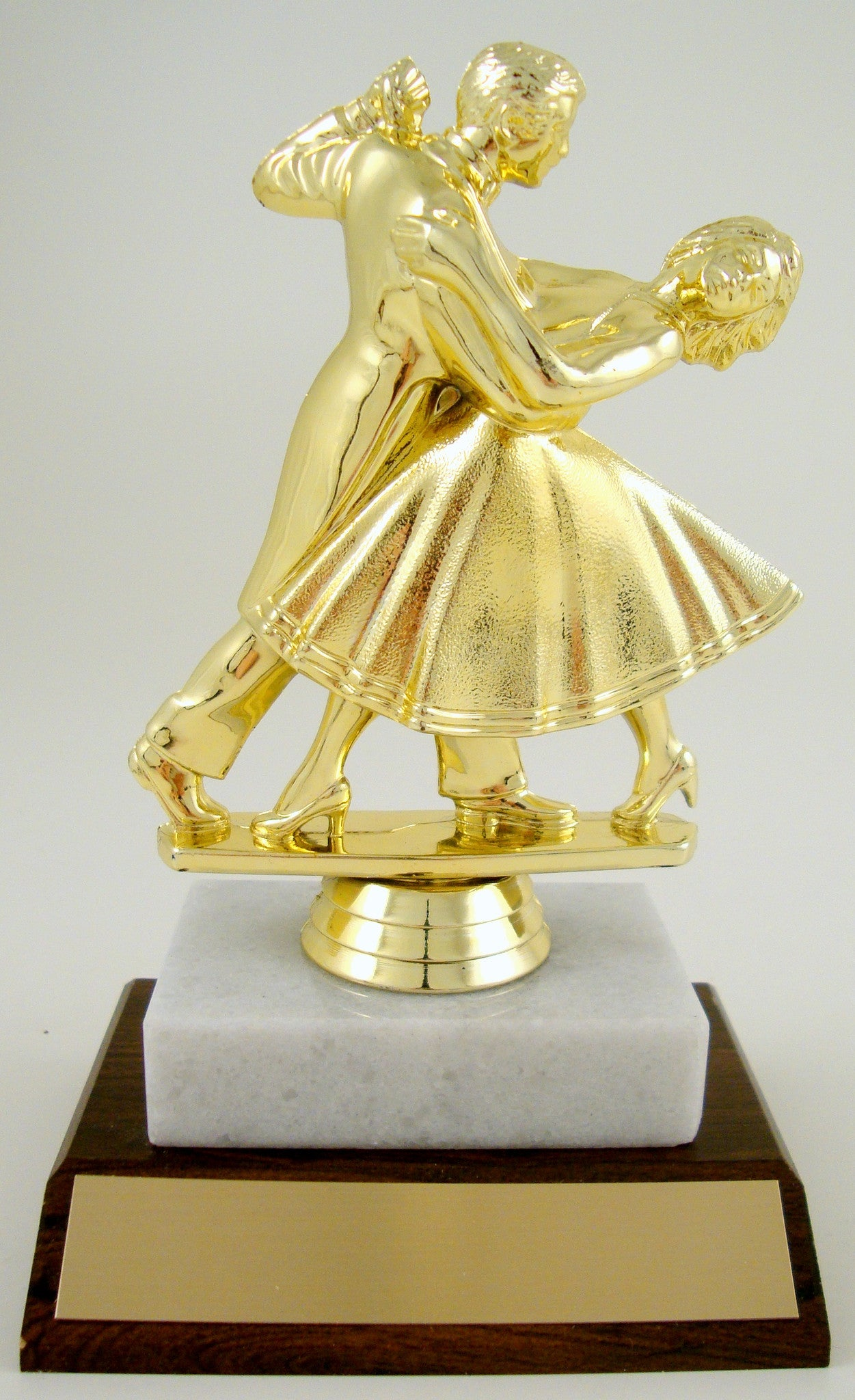Dance Couple Trophy On White Marble and Wood Base-Trophies-Schoppy's Since 1921