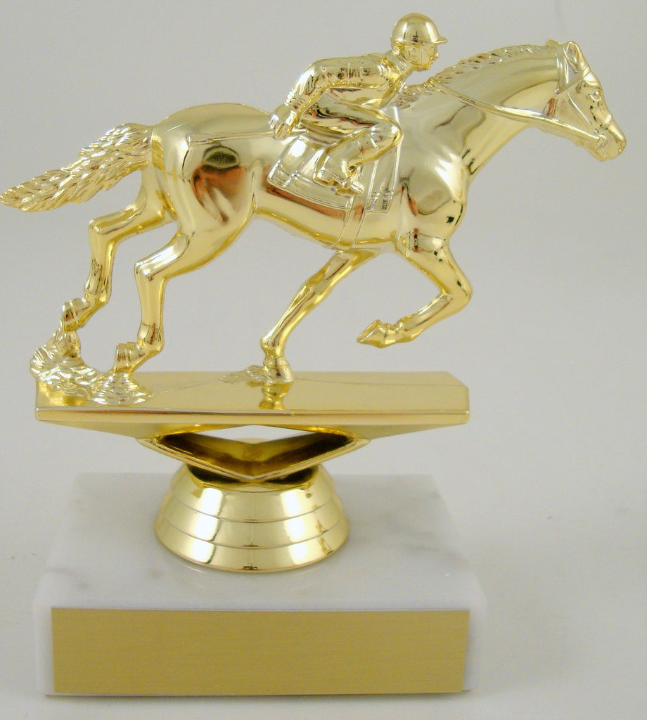 Equestrian Trophy On White Marble