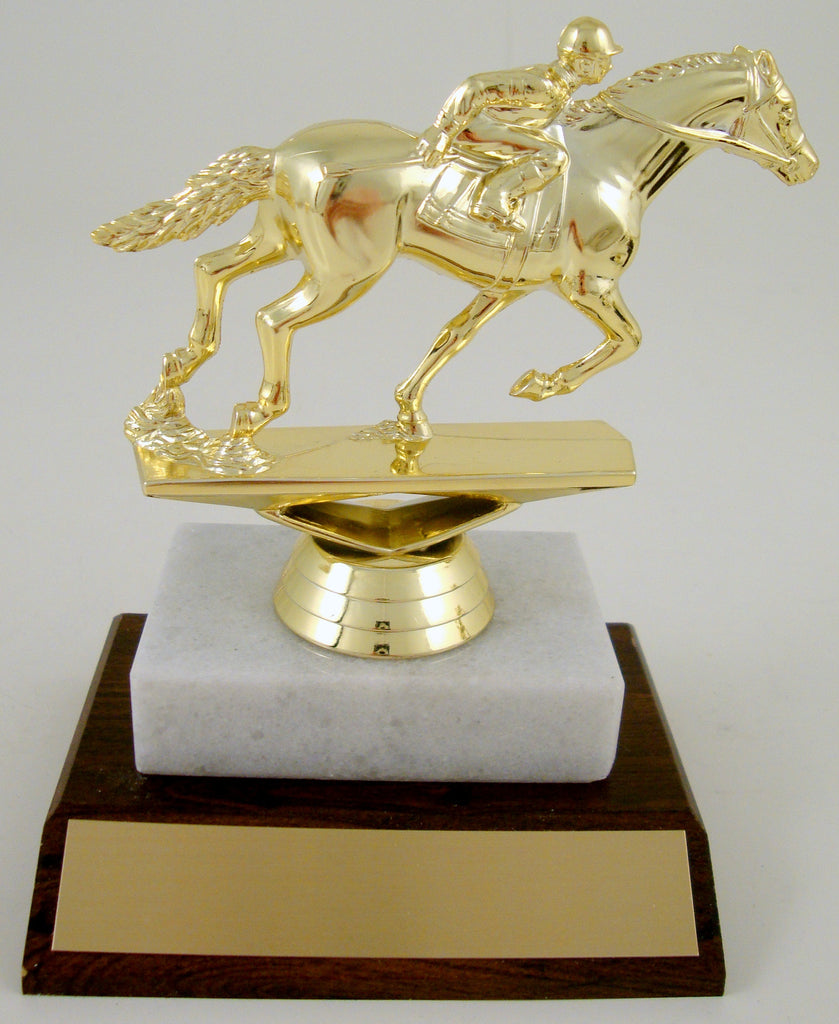 Equestrian Trophy On Wood and Marble Base