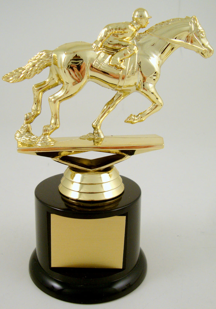 Equestrian Trophy On Black Round Base