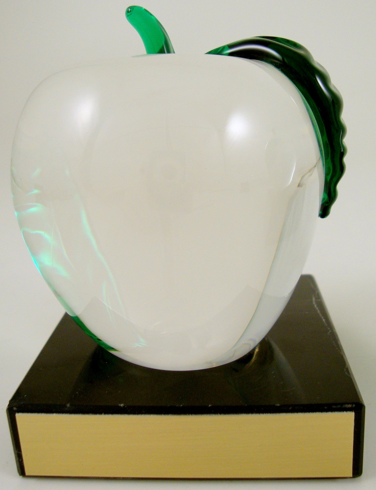 Clear Glass Apple on Thin Black Marble Base-Gift-Schoppy's Since 1921