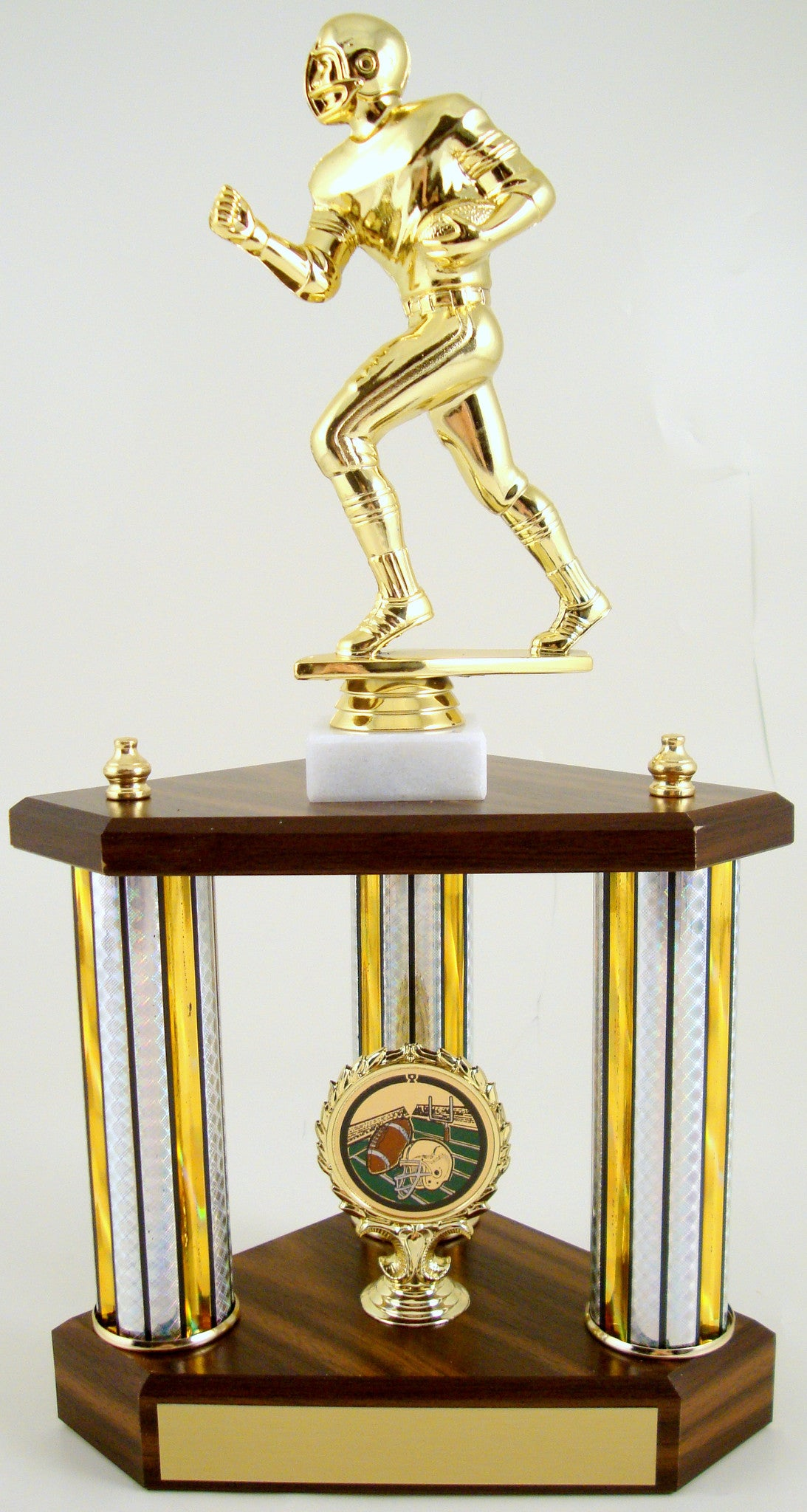Small Three Column Trophy With Jumbo Football Figure And Logo-Trophy-Schoppy's Since 1921