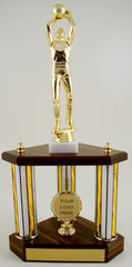Small Three Column Trophy With Jumbo Basketball Figure And Logo-Trophy-Schoppy's Since 1921