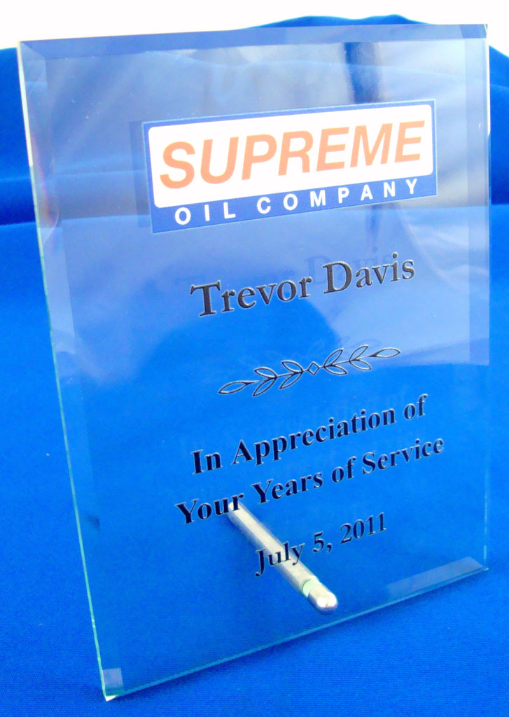 UV Direct Print Clear Glass Award With a Silver Plated Easel Post