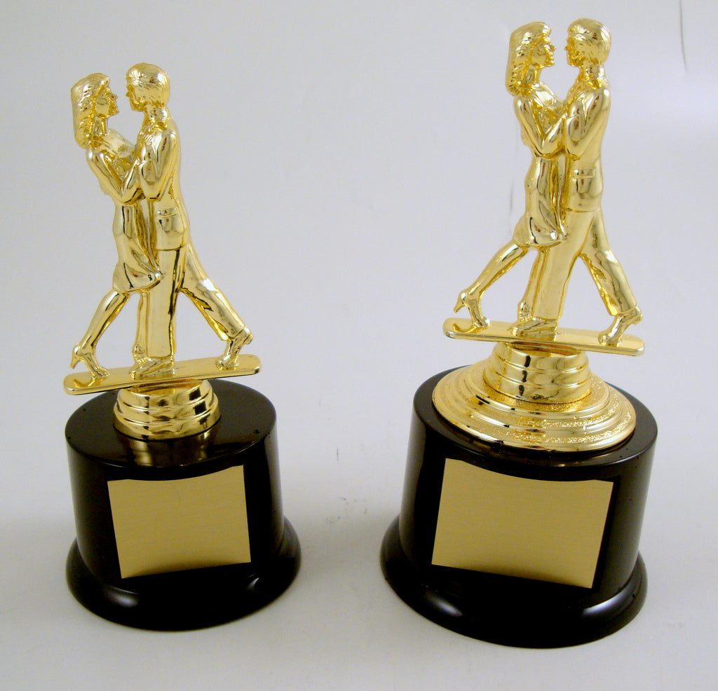 Couples Modern Dance Trophy on Black Round Base