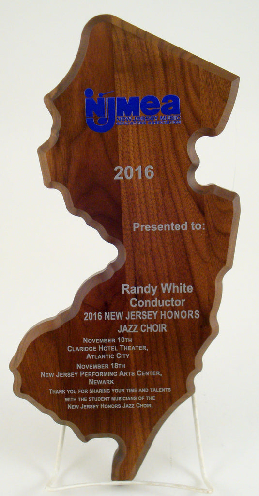 UV Direct Print NJ State Cutout Walnut Plaque