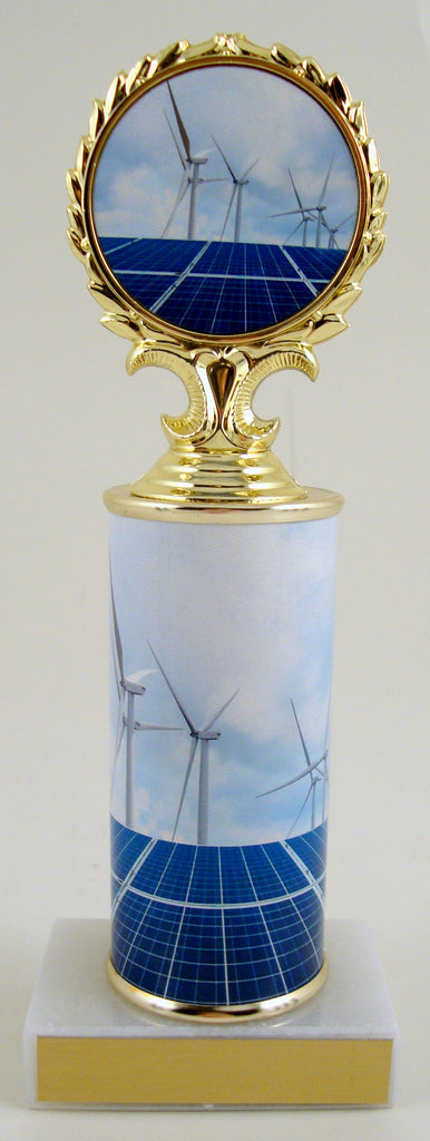 Solar And Wind Power Logo Trophy On Round Column And Flat White Marble