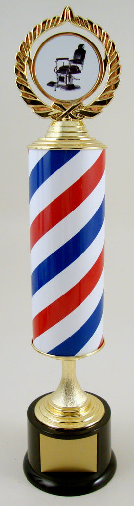 The Barbershop Pole Trophy On Black Round Base